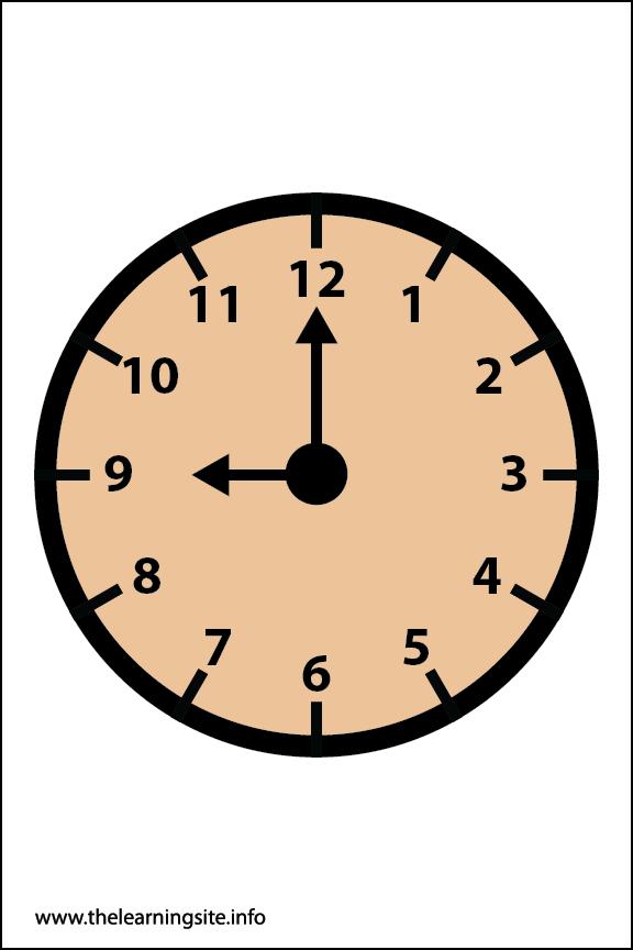 Clock Faces Flashcard 9 o'clock