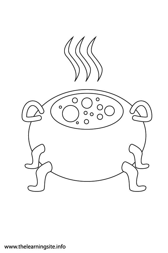 Fantasy Haloween Coloring Page Cauldron