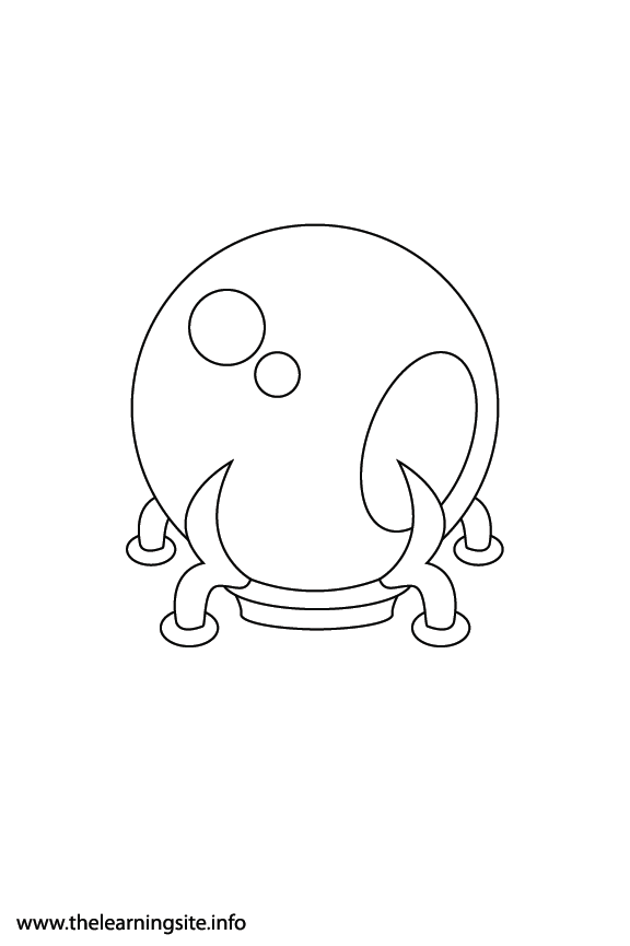 Fantasy Haloween Coloring Page Crystal Ball