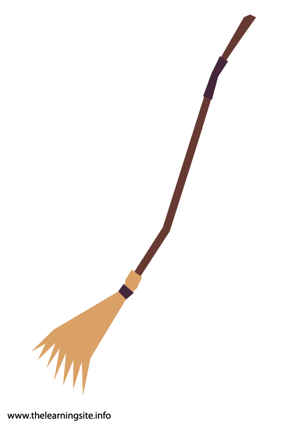 Fantasy Haloween Flashcard Witch Broomstick