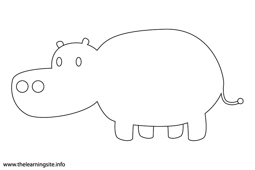 Animal Adjective Chubby Hippo Coloring Page Flashcard Illustration