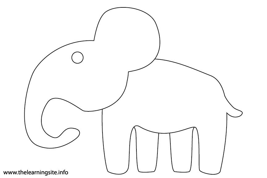 Animal Adjective Large Elephant Coloring Page Flashcard Illustration