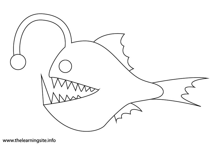 Animal Adjective Scary Anglerfish Coloring Page Flashcard Illustration