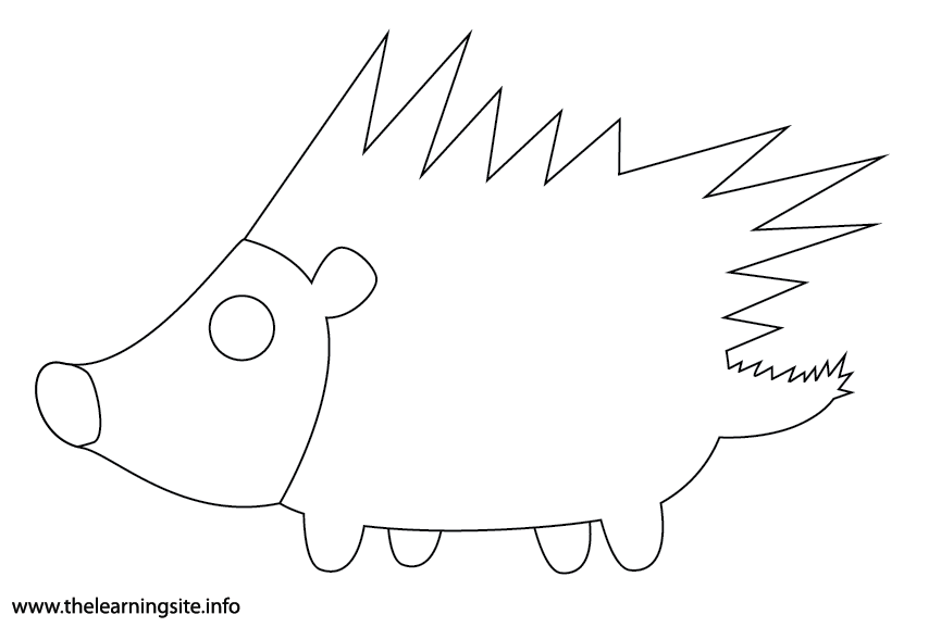 Animal Adjective Spikey Porcupine Coloring Page Flashcard Illustration