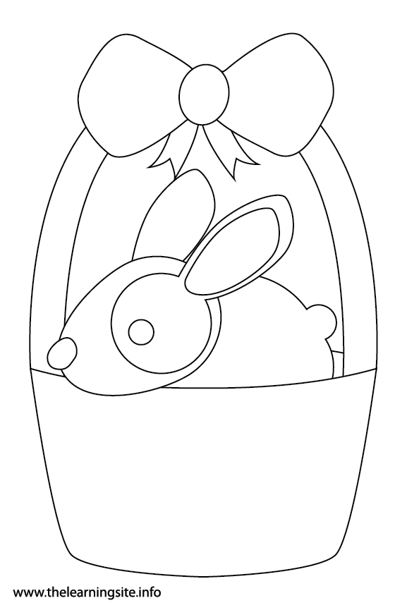 Easter Basket with Bunny Rabbit Coloring Page Flashcard Illustration