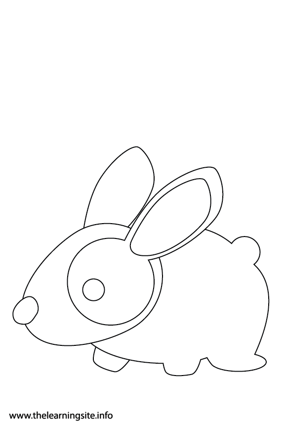 Easter Bunny Rabbit Coloring Page Flashcard Illustration