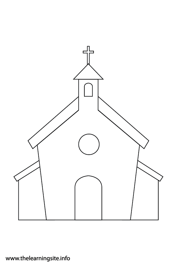Easter Church Coloring Page Flashcard Illustration