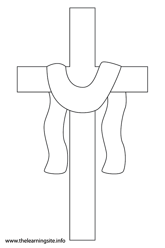 Easter Cross Coloring Page Flashcard Illustration