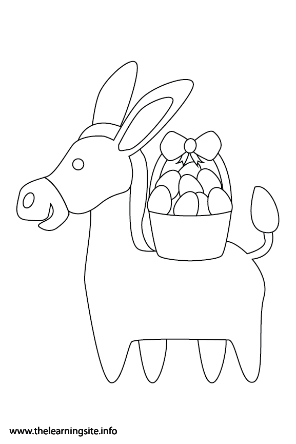 Easter Donkey Coloring Page Flashcard Illustration