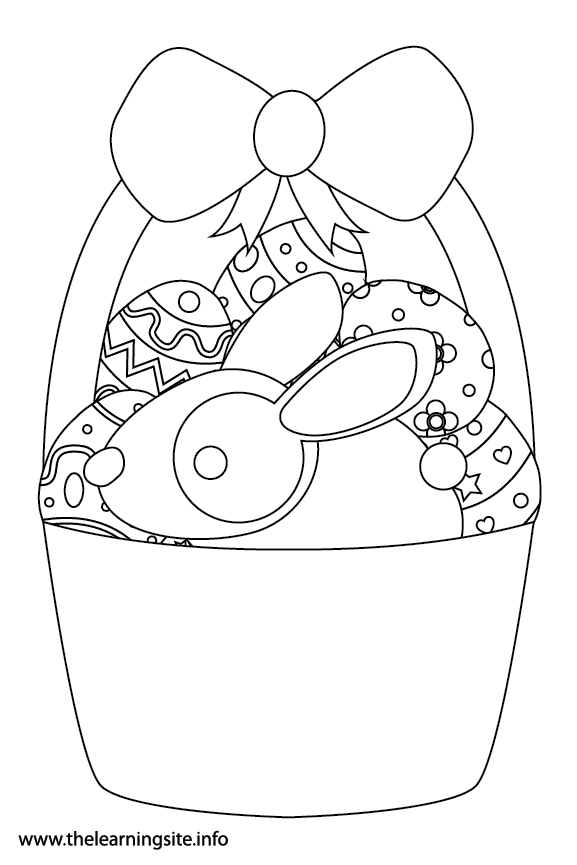 Easter Basket with Eggs  and Bunny Rabbit Coloring Page Flashcard Illustration