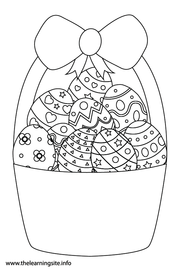 Easter Basket with Eggs Coloring Page Flashcard Illustration