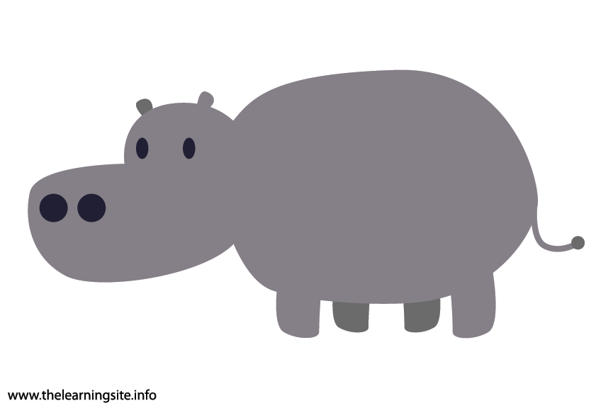 Animal Adjective Chubby Hippo Flashcard Illustration