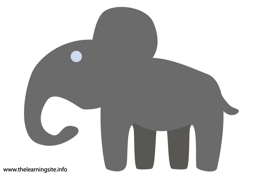 Animal Adjective Large Elephant Flashcard Illustration