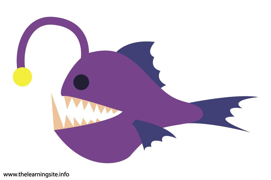 Animal Adjective Scary Anglerfish Flashcard Illustration