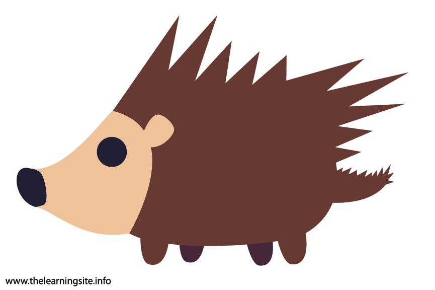Animal Adjective Spikey Porcupine Flashcard Illustration