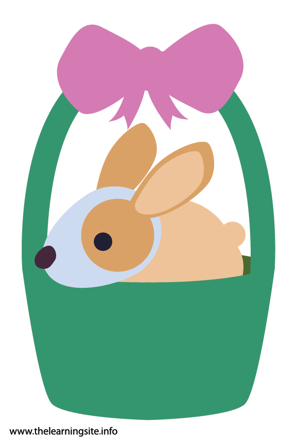 Easter Basket with Bunny Rabbit Flashcard Illustration