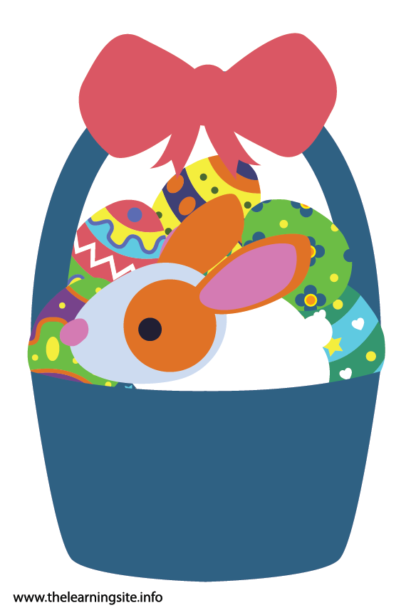 Easter Basket with Eggs and Bunny Rabbit Flashcard Illustration