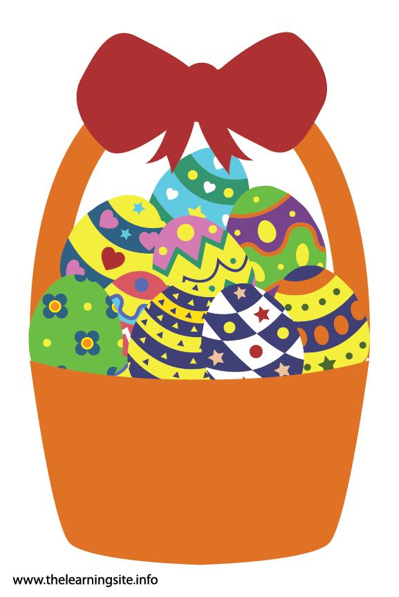 Easter Basket with Eggs Flashcard Illustration