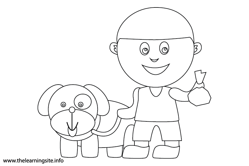 Outdoor Chores clean up after the dog Coloring Page Flashcard Illustration