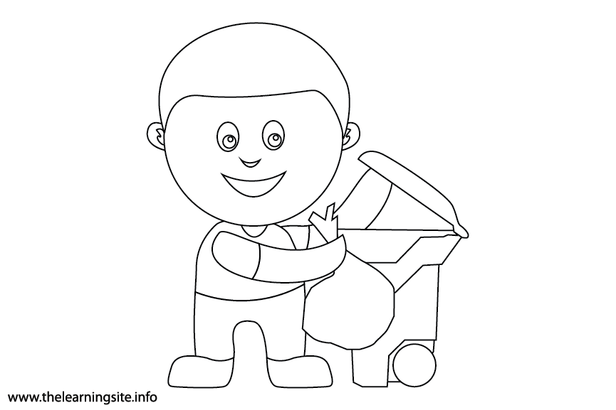 Outdoor Chores pick up trash Coloring Page Flashcard Illustration