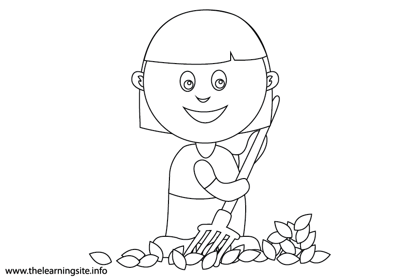 Outdoor Chores rake leaves Coloring Page Flashcard Illustration