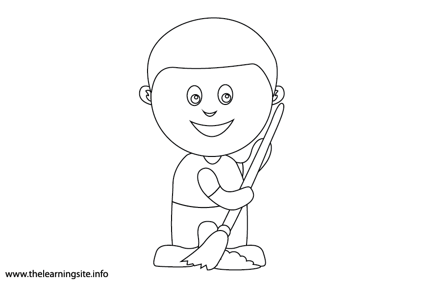 Outdoor Chores sweep the sidewalk Coloring Page Flashcard Illustration
