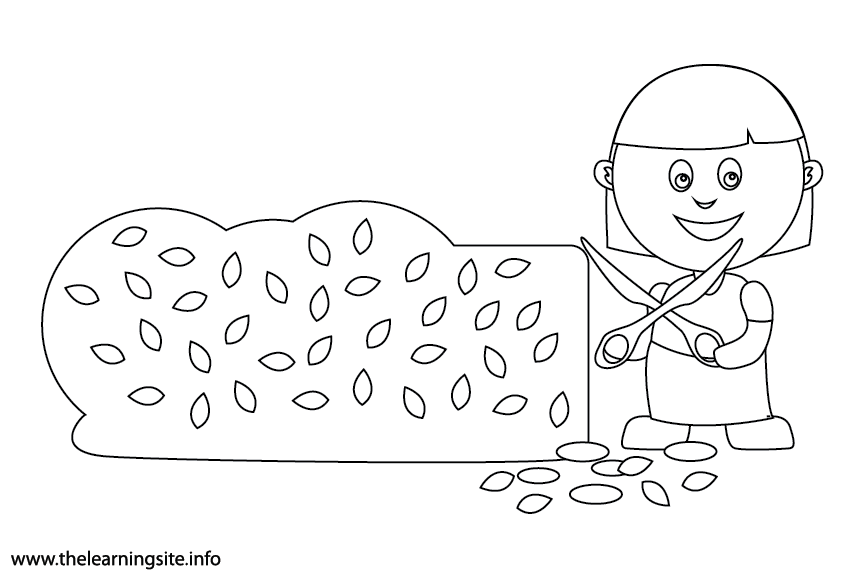 Outdoor Chores trim the hedges Coloring Page Flashcard Illustration