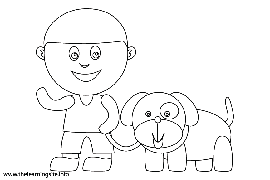 Outdoor Chores walk the dog Coloring Page Flashcard Illustration