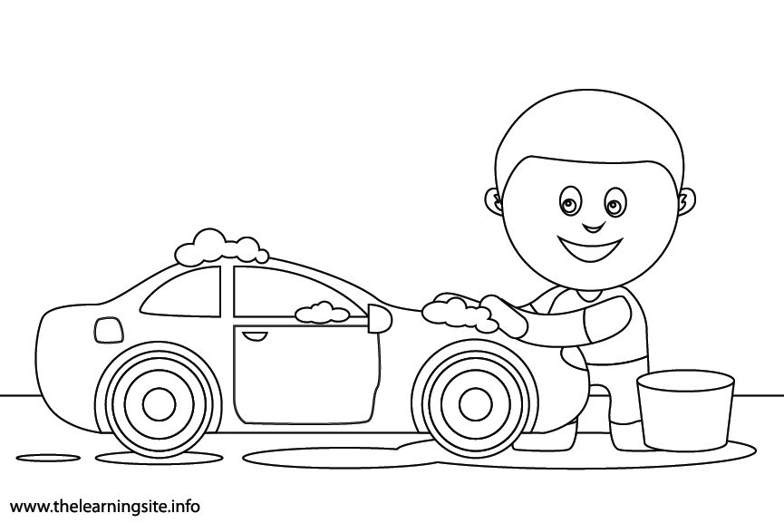 Outdoor Chores wash the car Coloring Page Flashcard Illustration