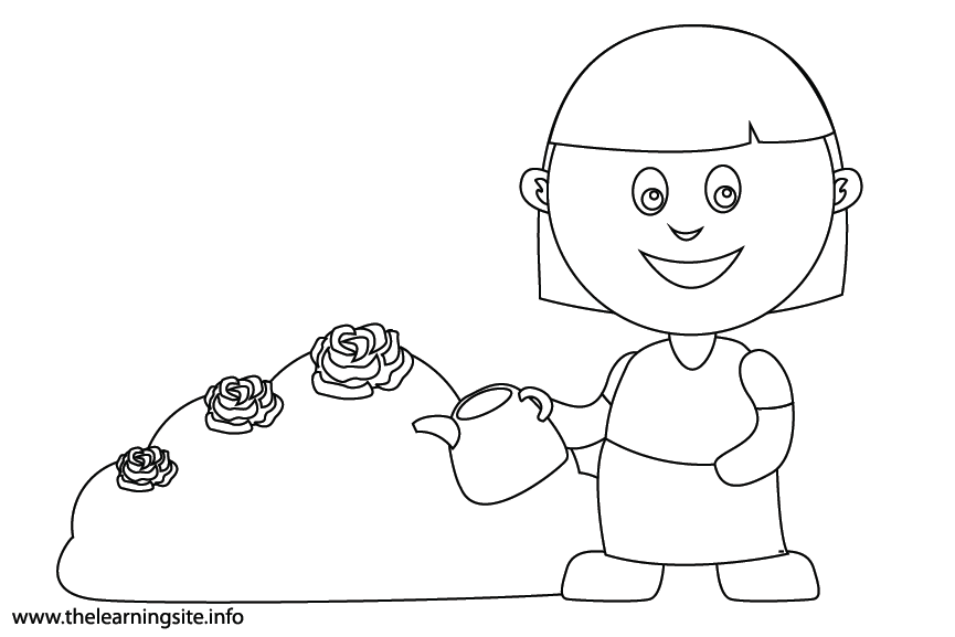 Outdoor Chores water the plants Coloring Page Flashcard Illustration