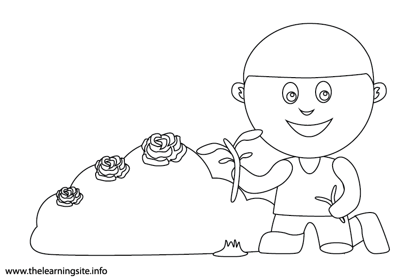 Outdoor Chores pull weeds Coloring Page Flashcard Illustration