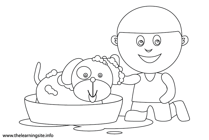 Outdoor Chores bath the dog Coloring Page Flashcard Illustration