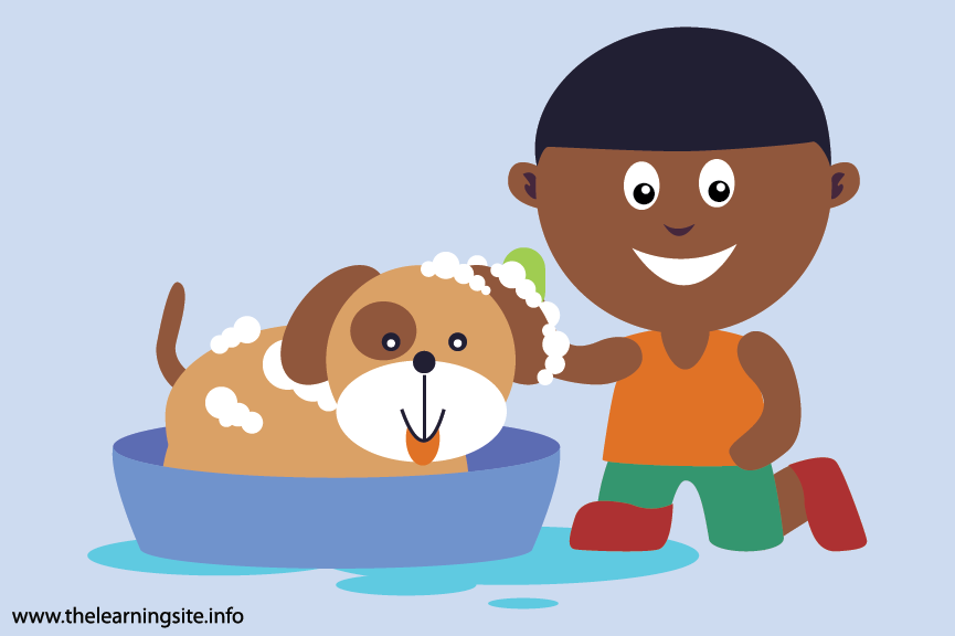 Outdoor Chores bath the dog Flashcard Illustration