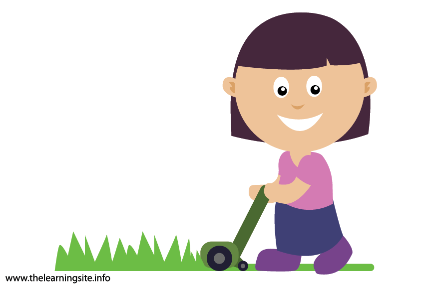 Outdoor Chores mow the grass Flashcard Illustration