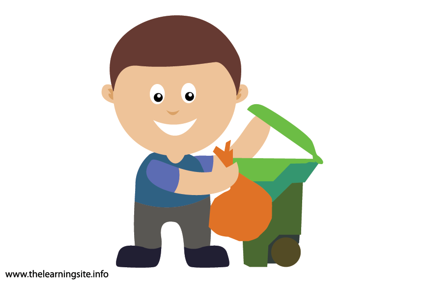 Outdoor Chores pick up trash Flashcard Illustration