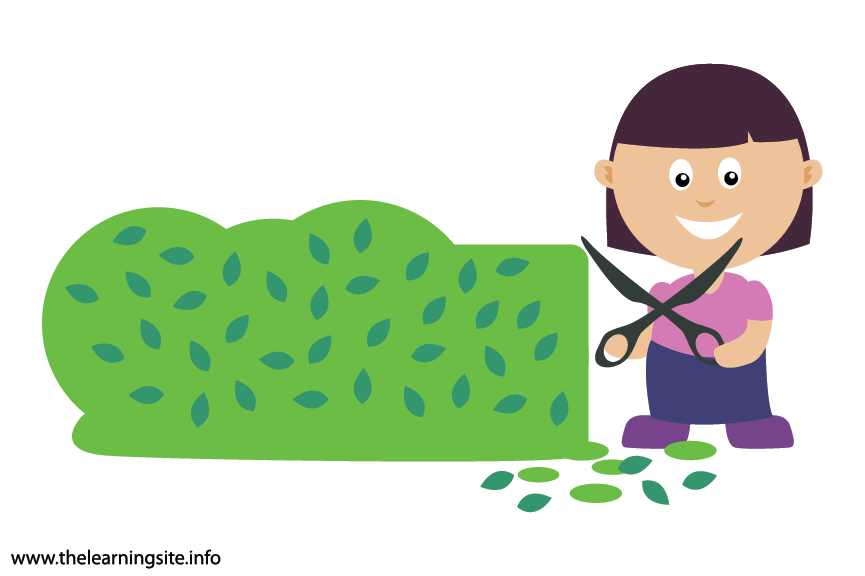 Outdoor Chores trim the hedges Flashcard Illustration