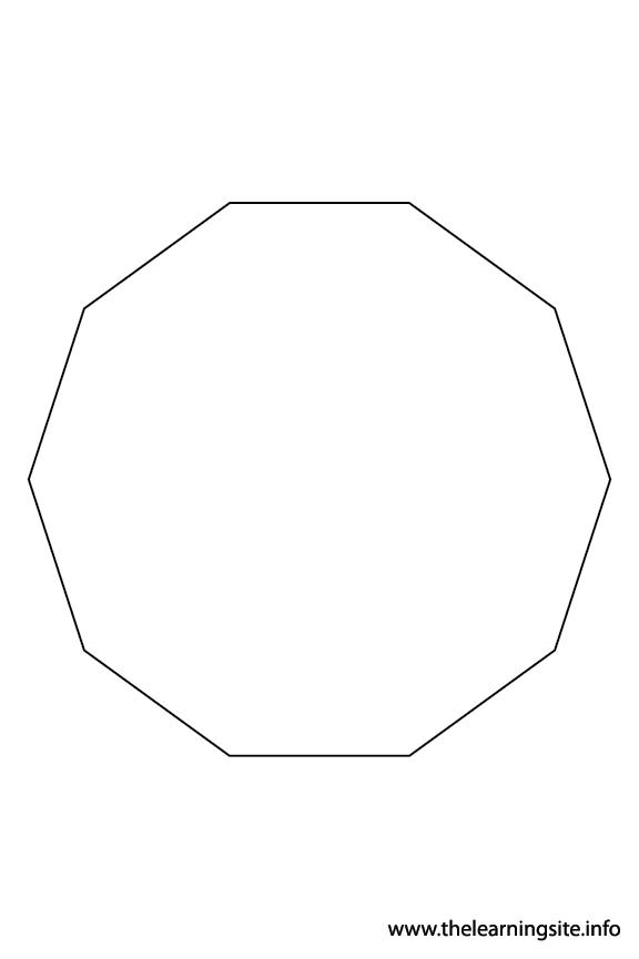 Decagon - 10 Sides Polygon Shape Coloring Page Outline Flashcard Illustration