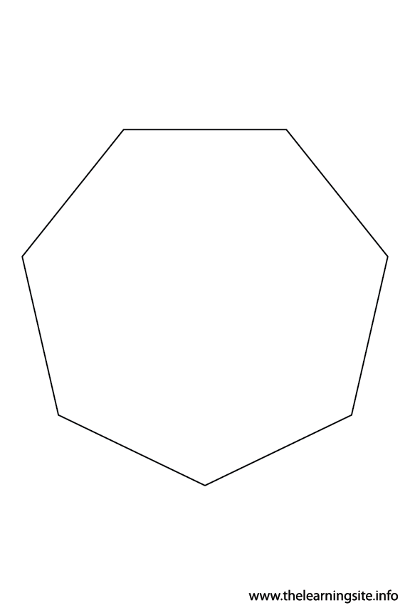 Heptagon – 7 sides sides Polygon Shape Coloring Page Outline Flashcard Illustration
