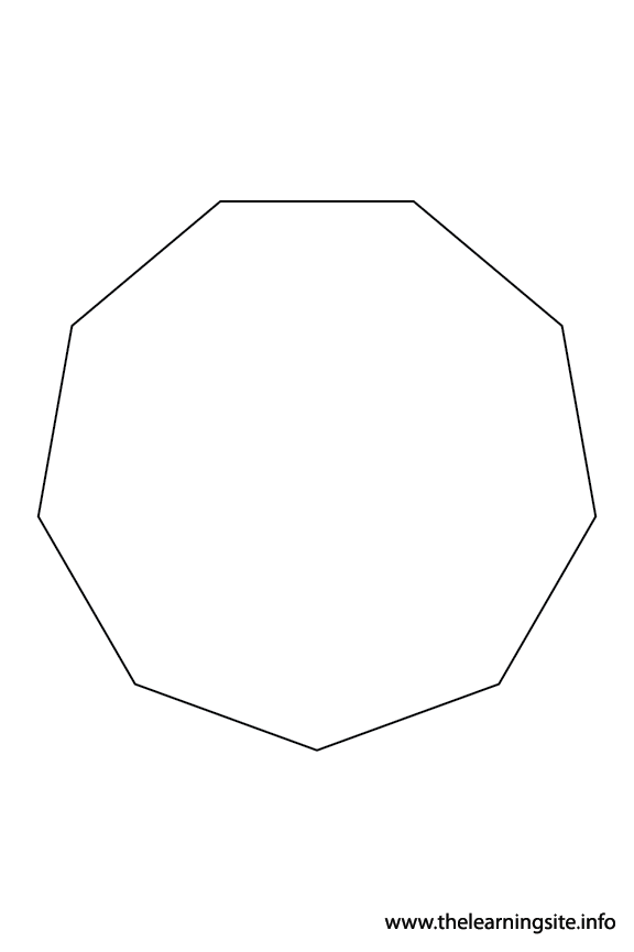 Nonagon - 9 sides Polygon Shape Coloring Page Outline Flashcard Illustration