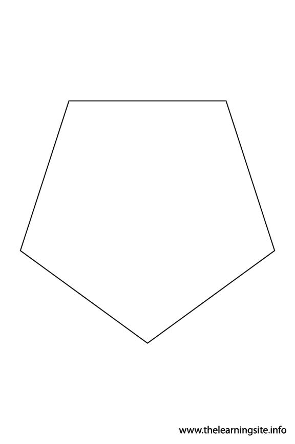 Pentagon - 5 sides Polygon Shape Coloring Page Outline Flashcard Illustration