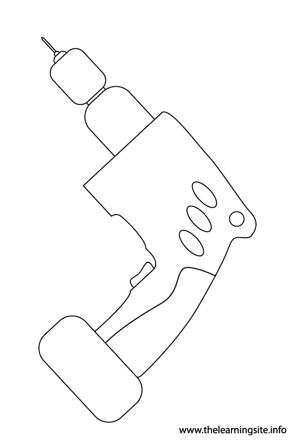 Tool Drill Coloring Page Flashcard Illustration