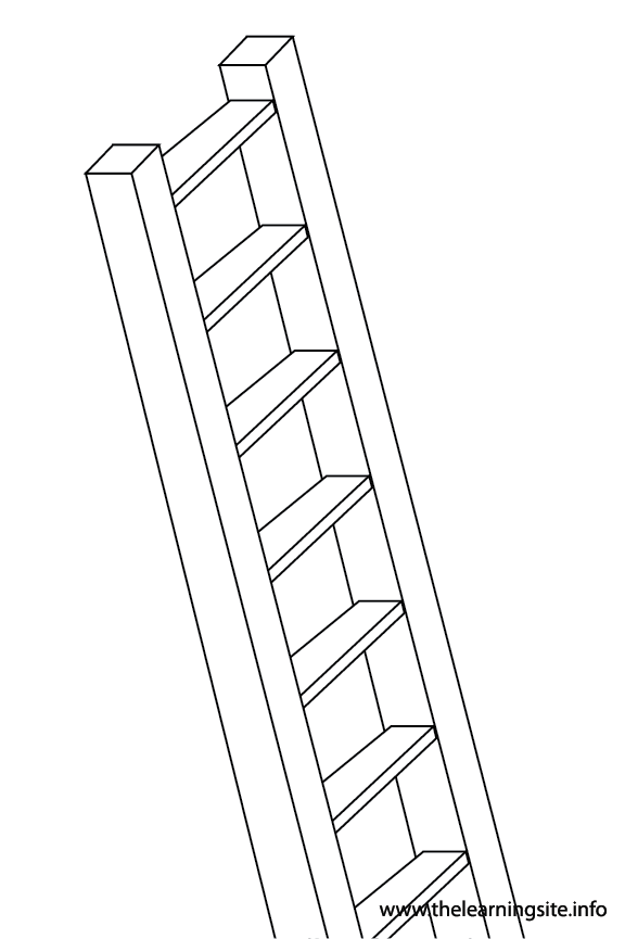 Tool Ladder Coloring Page Flashcard Illustration