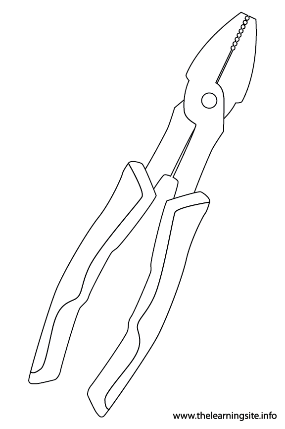 Tool Pliers Coloring Page Flashcard Illustration