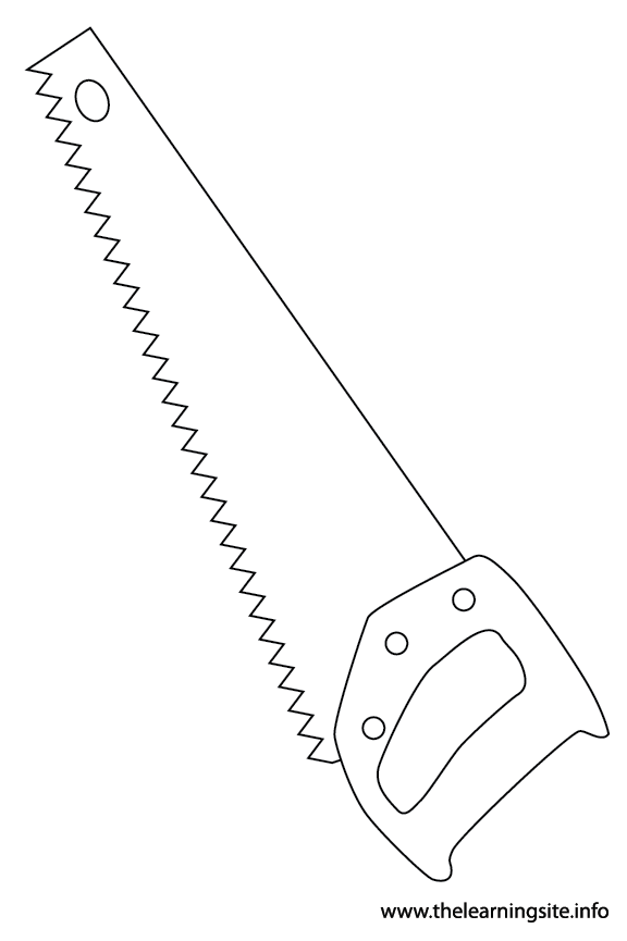 Tool Saw Coloring Page Flashcard Illustration