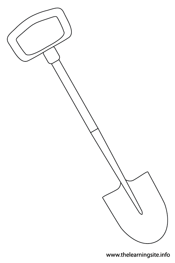 Tool Shovel Coloring Page Flashcard Illustration