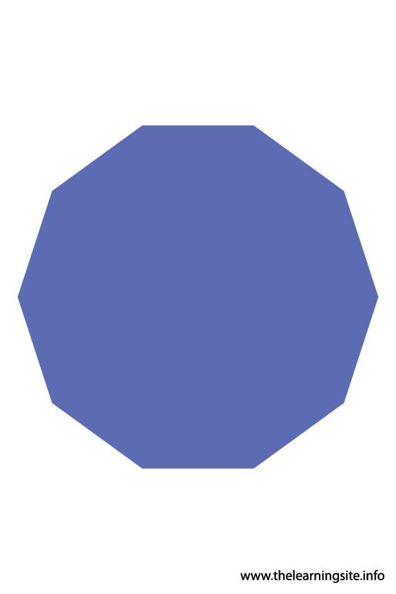 Decagon - 10 Sides Polygon Shape Flashcard Illustration