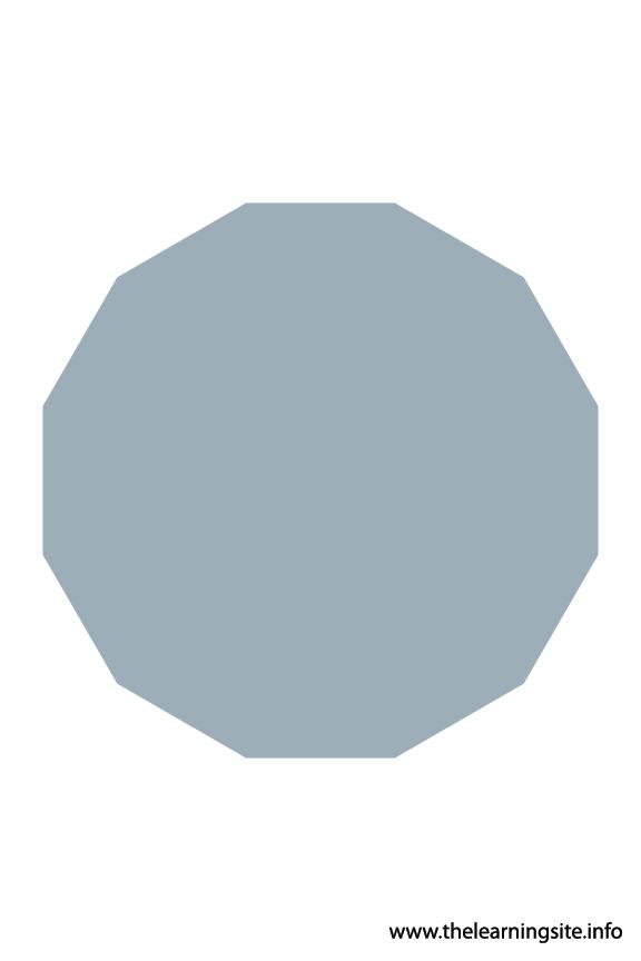 Dodecagon - 12 sides Polygon Shape Flashcard Illustration