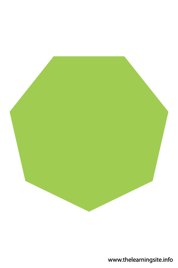 Heptagon – 7 sides sides Polygon Shape Flashcard Illustration