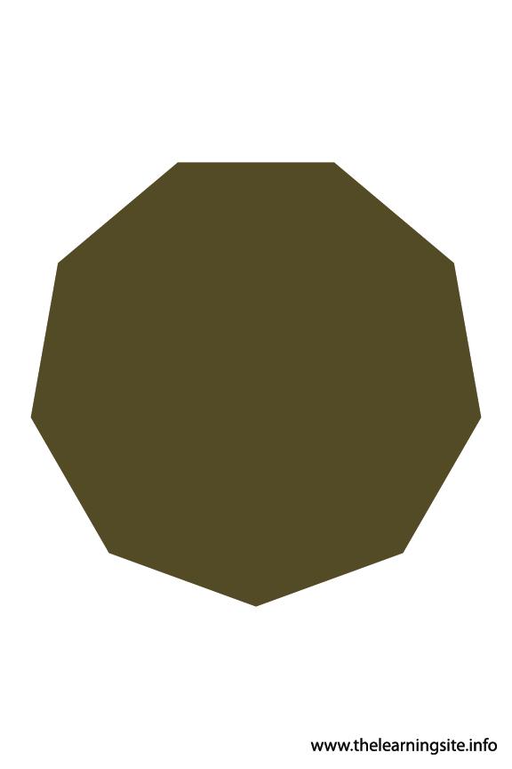 Nonagon - 9 sides Polygon Shape Flashcard Illustration