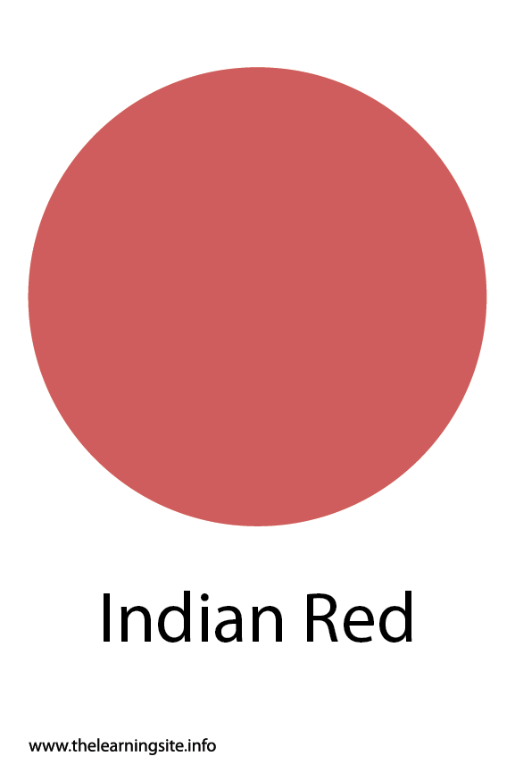 Indian Red Color Flashcard Illustration